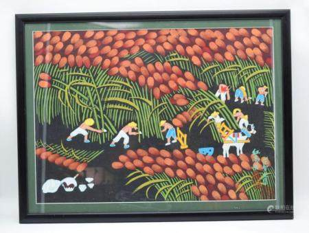 A framed Chinese print of workers harvesting crops 38 x 54 cm.