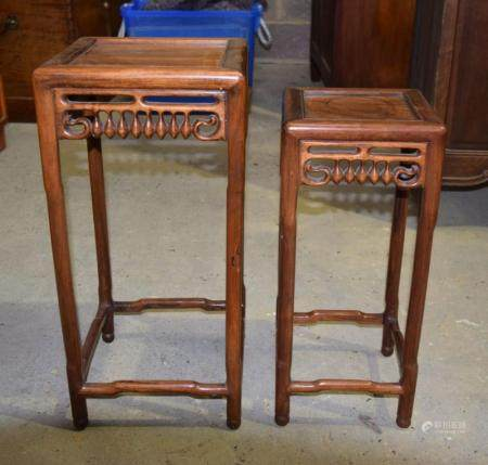 Two early 20th century Chinese tables 60 x 28cm (2)