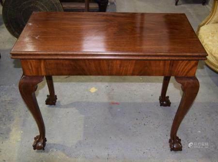 A George III fold over card table 74 x 91 x 45cm(90cm)
