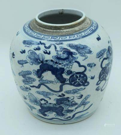 A Chinese blue and white ginger jar decorated with Kylin 23cm .