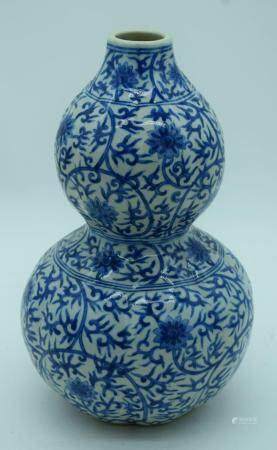 A Chinese blue and white porcelain Double Gourd decorated with lotus