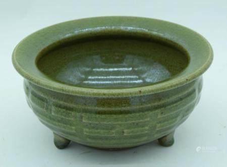 A Chinese Yaozhou Celadon porcelain censer 10.5 x 23cm.