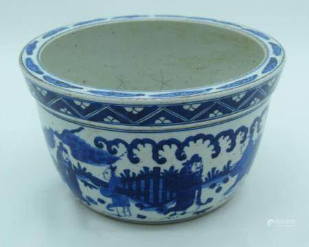 A Chinese Wanli style blue and white porcelain bowl decorated with figures 15 x 27 cm ,