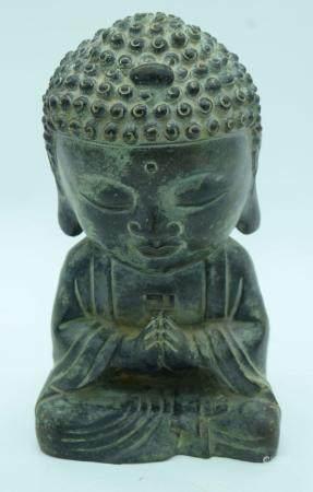 A Chinese bronze Buddha 28cm .
