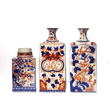 Set of Flower Pattern Imari Ware Vase
