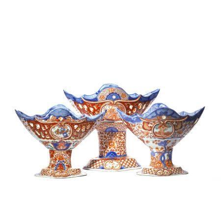 Set of Flower Pattern Imari Ware Fruit Tray