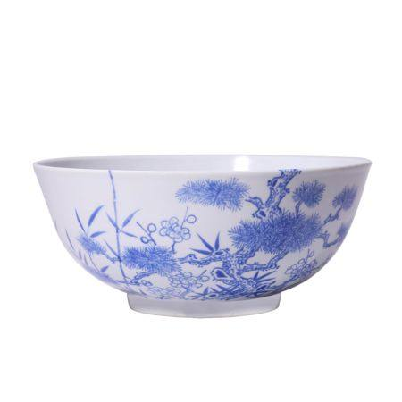 Bamboo and Plum Pattern Blue and White Porcelain Bowl