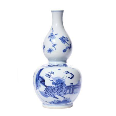 Gourd Shape Blue and White Porcelain Vase
