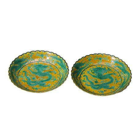 Pair of Yellow Lotus Plates and Green Dragon Pattern