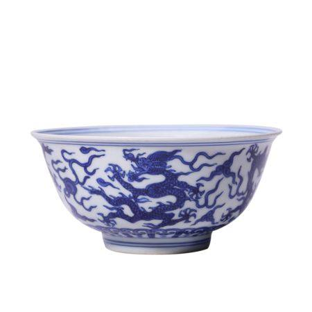 Dragon Pattern Blue and White Porcelain Bowl