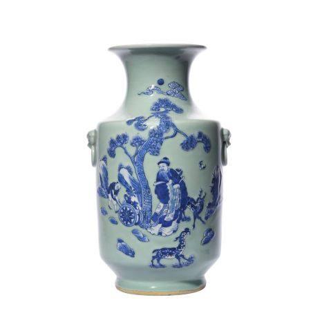 Figure Pattern Blue and White Porcelain Vase