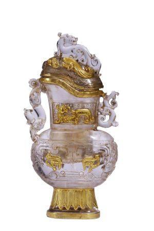 Flat Crystal Vase Wrapped Gold