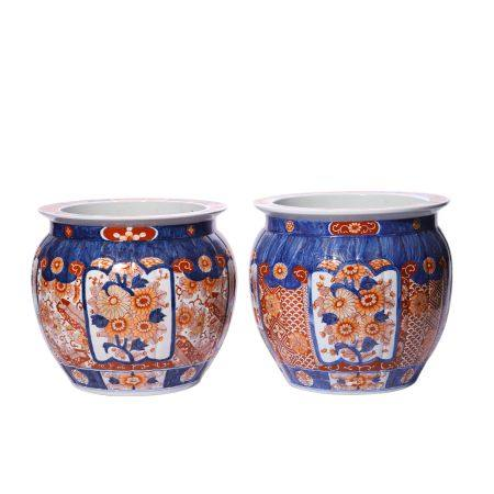 A Pair of Flower Pattern Imari Ware Jar