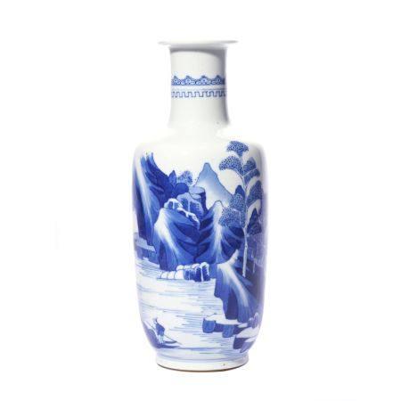 Shanshui Patern Blue and White Porcelain Vase