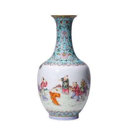 Figure Pattern Pastel Vase