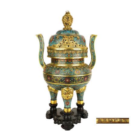 清 銅鎏金掐絲琺瑯朝冠耳獸足爐