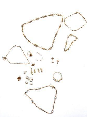 Un lot de débris d'or(750 millièmes) (Poids brut : 18.2 g)