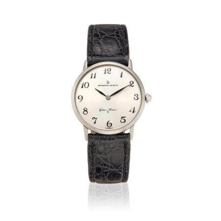 UNIVERSAL GENEVE. AN 18K WHITE GOLD AUTOMATIC WRISTWATCH Golden Shadow,