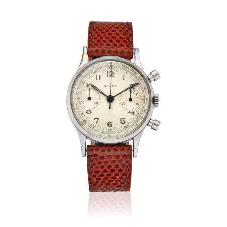 GALLET. A STAINLESS STEEL MANUAL WIND CHRONOGRAPH WRISTWATCH