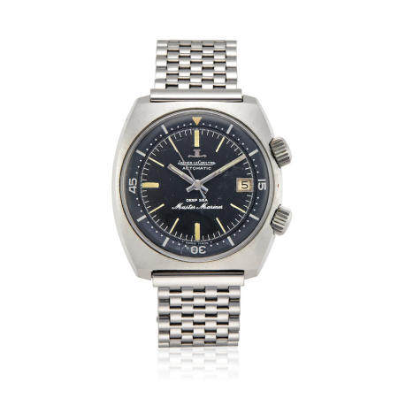 JAEGER-LECOULTRE. A STAINLESS STEEL AUTOMATIC CALENDAR BRACELET WATCH Deep Sea Master Mariner, c.1970s