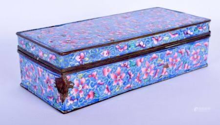 A 19TH CENTURY CHINESE CANTON ENAMEL BOX AND COVER painted with flowers. 17 cm x 8 cm.