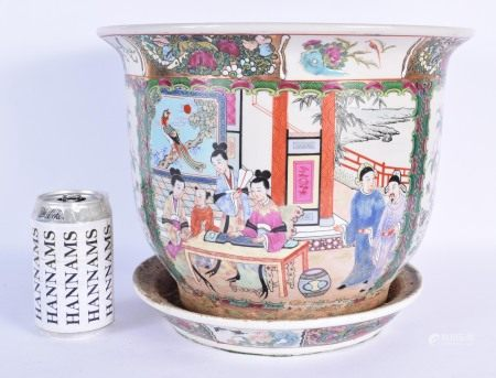 A 1950S CHINESE CANTON FAMILLE ROSE JARDINIERE ON STAND decorated with figures. 28 cm x 18 cm.