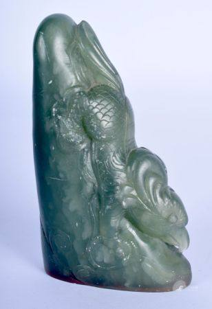 AN EARLY 20TH CENTURY CHINESE CARVED SOAPSTONE SEAL Late Qing/Republic. 9 cm x 4 cm.
