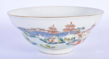 A 19TH CENTURY CHINESE FAMILLE ROSE PORCELAIN OGEE FORM BOWL Daoguang Mark and Period, painted with