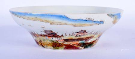 AN EARLY 20TH CENTURY CHINESE FAMILLE ROSE OGEE FORM BOWL Guangxu, enamelled with boats at sea. 12.5