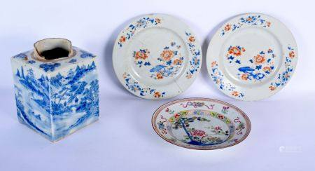 THREE 18TH CENTURY CHINESE EXPORT PORCELAIN PLATES Qianlong, together with an early Qing tea caddy.