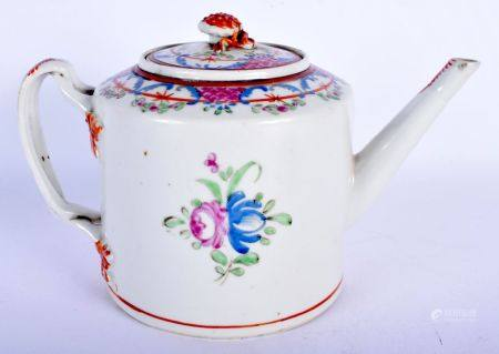 AN 18TH CENTURY CHINESE EXPORT FAMILLE ROSE TEAPOT AND COVER Qianlong. 23 cm wide.