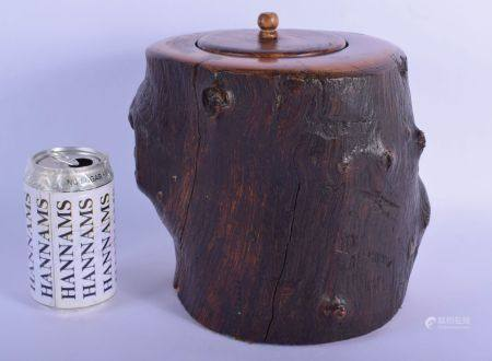 A VERY RARE 18TH/19TH CENTURY CHINESE CARVED ROOT WOOD BRUSH POT AND COVER Bitong, Qianlong/Jiaqing,
