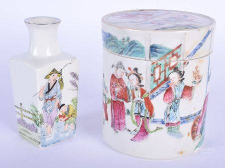 AN 18TH/19TH CENTURY CHINESE FAMILLE ROSE JAR AND COVER Qing, together with a vase. Largest 10 cm x