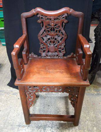 AN EARLY 20TH CENTURY CHINESE CARVED HARDWOOD CHAIR Late Qing/Republic. 96 cm x 54 cm.
