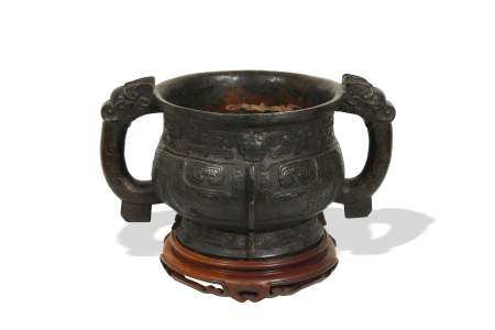 CHINESE CENSER WITH METAL FOOT, MING-QING 明代或更早 仿西周青銅簋