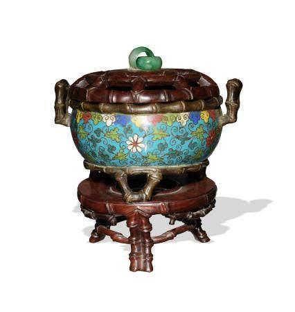 CHINESE CLOISONNE CENSER WITH BAMBOO DETAILS, 17TH CENTURY 十七世纪 景泰蓝竹节炉(附原配硬木座盖)