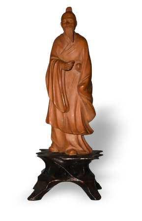 CHINESE HUANGYANG WOOD SCHOLAR, REPUBLIC PERIOD 民国 黄杨木雕高仕像