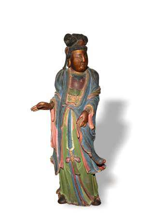 CHINESE WOOD CARVING OF GUANYIN, 19TH CENTURY 十九世纪 木雕彩绘观音立像