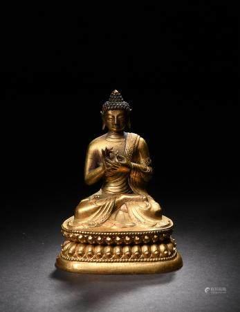 GILT BRONZE BUDDHA, 18TH CENTURY 十八世紀 銅鎏金佛