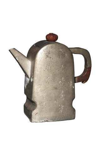 CHINESE PEWTER TEAPOT, 19TH CENTURY 十九世纪 锡包壶