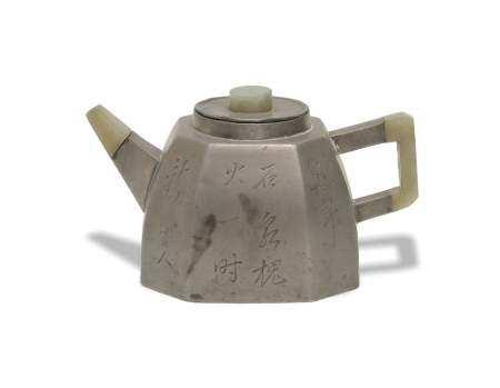 CHINESE PEWTER ENCASED ZISHA TEAPOT, 19TH CENTURY 十九世纪 锡包紫砂壶