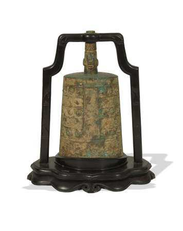 CHINESE BRONZE BIAN ZHONG BELL WITH HARDWOOD STAND 东周/春秋 铜编钟(附原配硬木架)