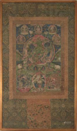 TIBETAN THANGKA OF GREEN TARA, 18TH CENTURY OR EARLIER 十八世纪或更早 绿度母唐卡