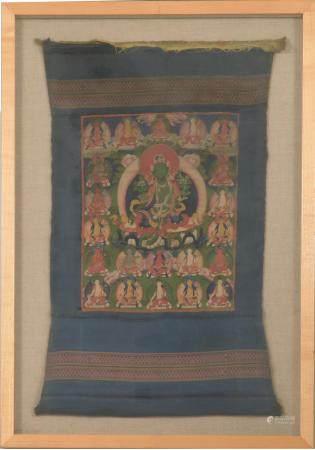 TIBETAN THANGKA OF TWENTY-ONE TARAS, 18/19TH CENTURY 十八/十九世纪 二十一度母唐卡