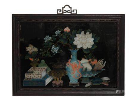 CHINESE REVERSE GLASS PAINTING, 19TH CENTURY 十九世纪 玻璃画博古图挂屏
