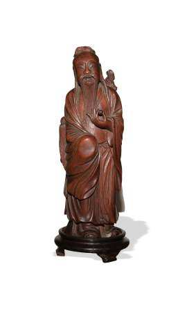 CHINESE BAMBOO CARVING OF LU DONGBIN, 18TH CENTURY 十八世纪 竹雕高仕