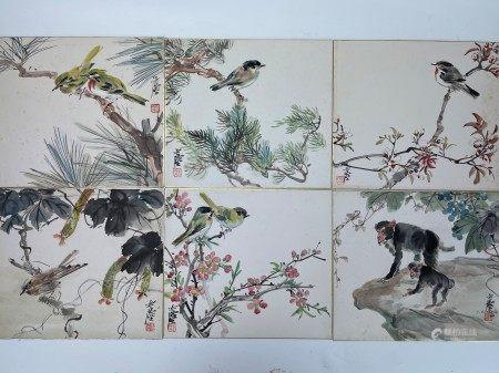 Monkeys and Bird Set of 6 Album Leaves by Wang Yachen
