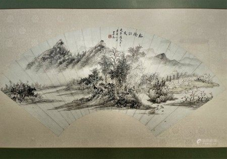 Zhang Mofu Chinese Painting Fan leaf, mounted and framed, ink and colour on paper, H 12 in.(30 cm) W 23 in.(58 cm),钤印:张