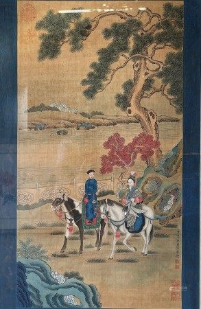 Chinese Painting Ink and Color on  Paper Attributed To Lang Shining