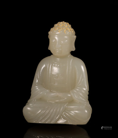 Qing Dynasty Hetian Jade Buddha with gold depict